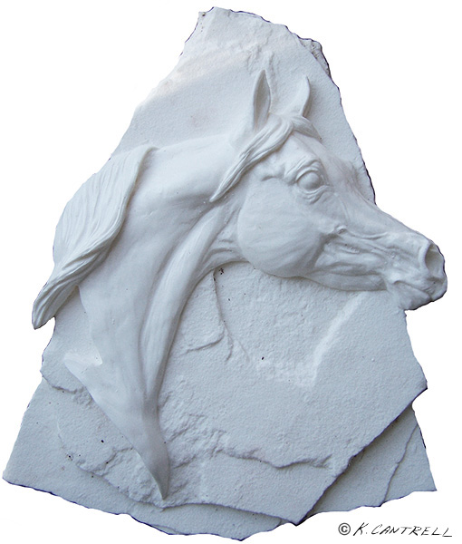 Arabian stallion relief unpainted